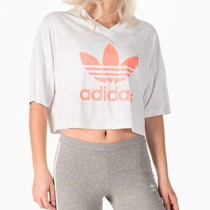 Adidas Cropped Trefoil Jersey Tee Peach Logo